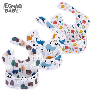 Waterproof Baby Bibs 100% Polyester TPU Coating Feeding Bibs Washable Baby Bibs with Food Catcher for Baby Girls & Boys