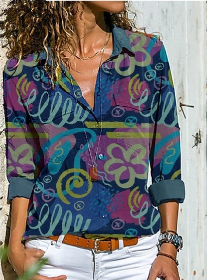Women Long Sleeve Shirts Print Tops Woman Long Sleeve Casual Printed Shirt Turn-down Collar Women Tops