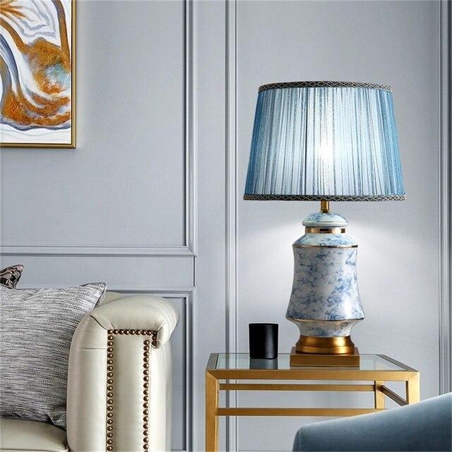 Фото керамические настольные лампы oufula синие латунные современные