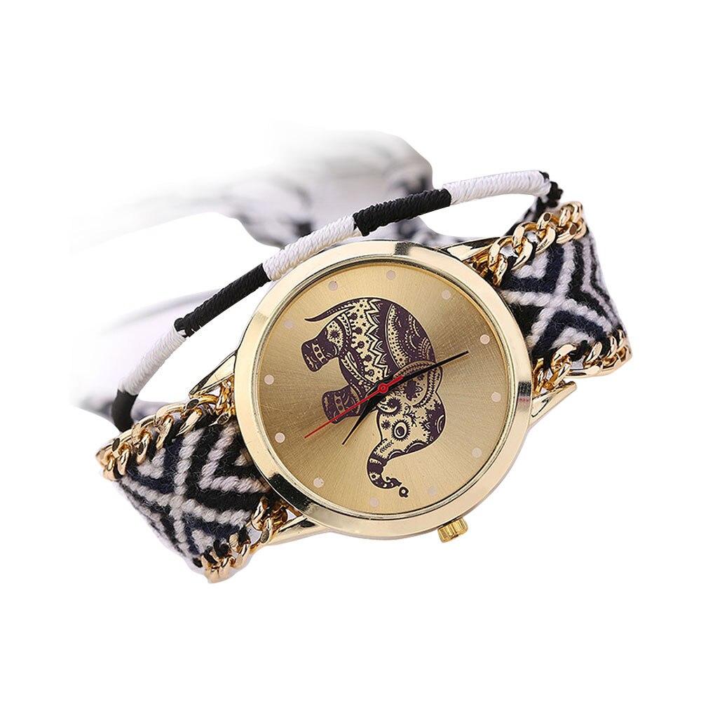 Women Girl Handmade Braided Elephant Bracelet Dial Quarzt Watch Black Female Watches Gifts For Women Watch Woman Watch Clock