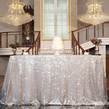 125x200cm Glitter Round Tablecloth Embroidered Sequin Table Cloth Rectangular Chair Runner Wedding Party Christmas Decoration