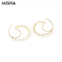 MISHA Fashion Hoop Earrings For Women Plated Handmade Pearl Round Earrings Charms Jewelry For Girls Ladies Gifts(China)