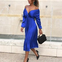 Elegant Satin Off Shoulder Pleated Dress Solid 2019 Autumn Ladies Long Sleeve Deep V Neck Midi