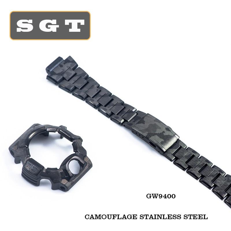 Watch Bezel For GW-9400 Watch Band 316 Stainless Steel Sliver Gold Watchband Men Metal Buckle Watch Band Watch Case Bezel Tool