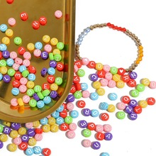 100PCS Flat Round Beaded Acrylic Colorful Letters Scattered Bead Decoration for Children Diy Train The Brain Jewelry Accessories
