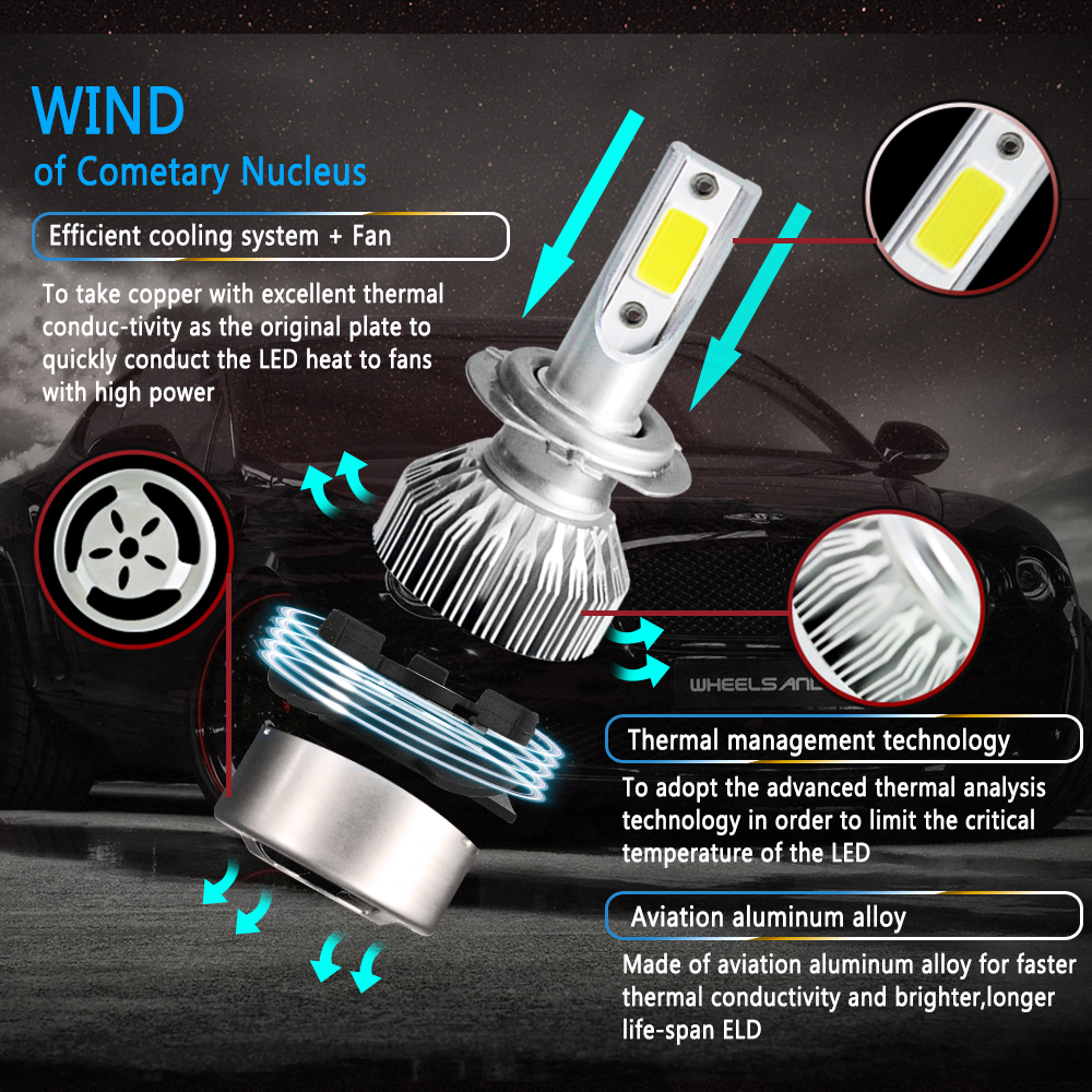 Image 3 - Light Bulbs For Cars C6 Lampada Led H4 H1 H3 H11 880 9005 HB3 9006 HB4 H13 9004 9007 H7 LED 9003 HB2 Headlight Car Styling Lamps-in Car Headlight Bulbs(LED) from Automobiles & Motorcycles