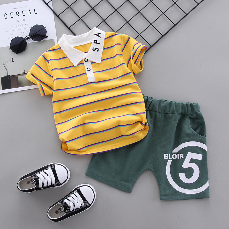 Baby Summer Clothes Boys Set Striped T-shirt + NO,5 Shorts 2020 New Children Clothing Short Sleeve Suit Toddler Outfit Bottler