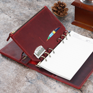 Image 1 - Genuine Leather Zipper Bag For Personal Rings Notebook 6 Hole Card Pocker Storage 170x110mm For Planner Organizer Sketchbook