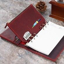 กระเป๋าซิปหนังแท้สำหรับส่วนบุคคลแหวนNotebook 6 Hole Card Pockerเก็บ 170X110 มม.สำหรับPlanner Organizer sketchbook