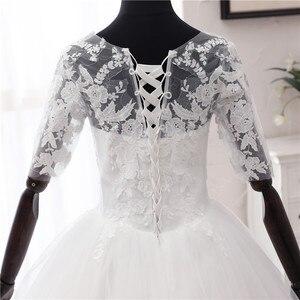 Image 5 - 간단한 오프 화이트 스위트 웨딩 드레스 섬세한 자수 아플리케 o 넥 신부 드레스 볼 가운 저렴한 플러스 사이즈 Vestido De Noiva