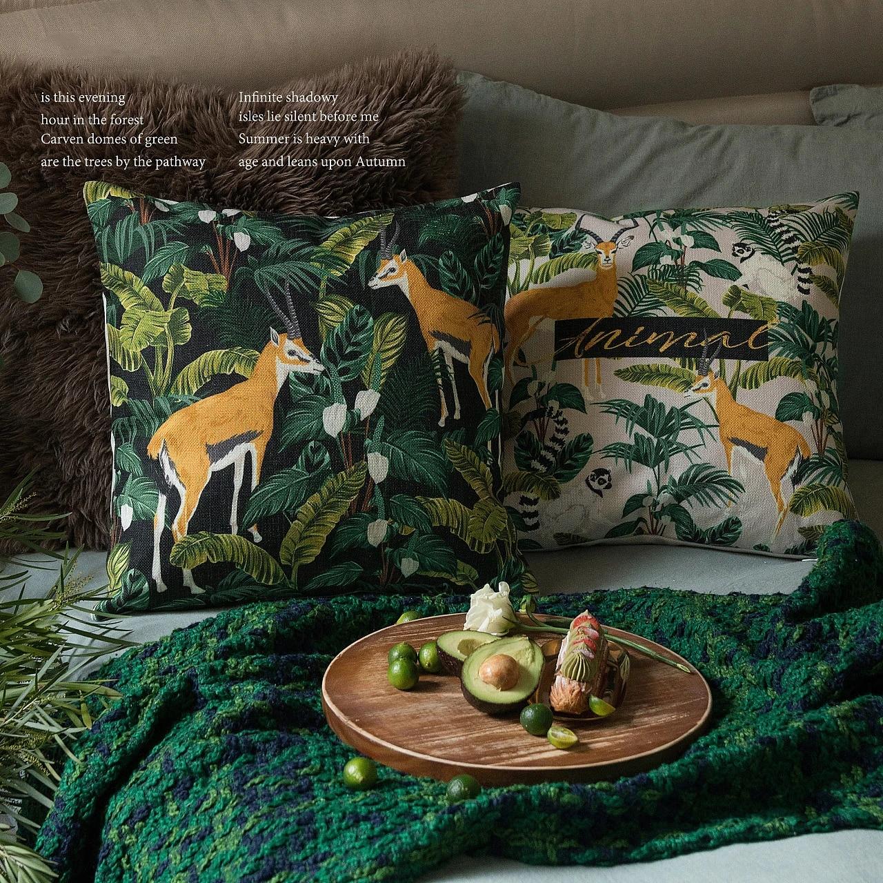 jungle lemur antelope print cushion cover 45 45cm cotton linen pillowcase throw pillow covers sofa decorative pillows home decor