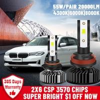 Carshark H7 Led faro Turbo 20000Lm H1 H4 bombillas alta baja y haz Hb3 Hb4 lámparas 4300K 6000K 8000K H8 H9 H11 9005 de 9006 luces de niebla