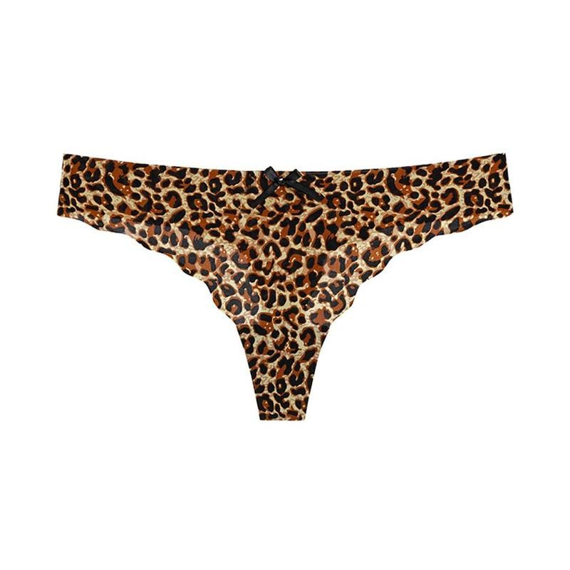 Leopard Sexy String Underwear For Women Ice Silk Soft Panties Female G String T-back Low-rise Seamless Thong Lingerie Briefs