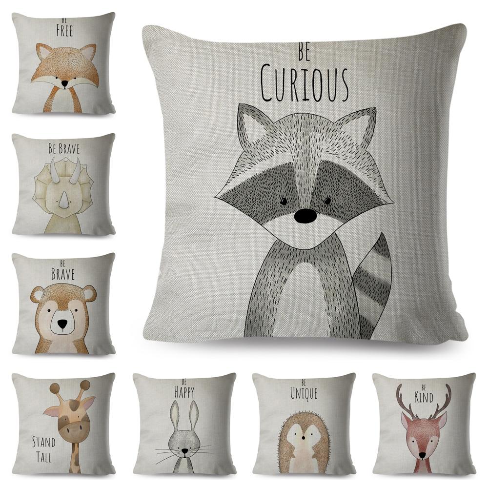 Nordic Style Be Brave Zebra Hippo Giraffe Pillow Case Decor Cute Animal Cushion Cover For Sofa Lion Fox Linen Pillowcase 45x45cm