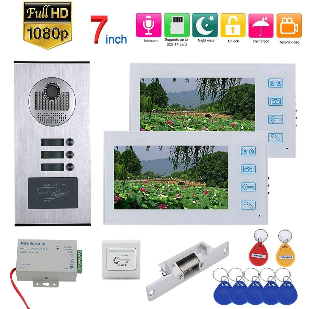 7inch Record Video Intercom 2/3/6Apartments Video Door Phone System With RFID 1080P Doorbell Camera+NO Electric Strike Door Lock