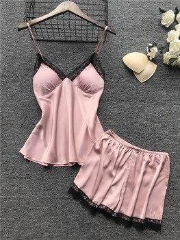 2019 Women Pajamas Sets Satin Sleepwear Silk 4 Pieces Nightwear Pyjama Spaghetti Strap Lace Sleep Lounge Pijama With Chest Pads 6
