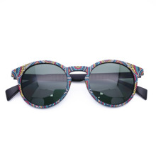 Belight Optical 3D Print Pattern TR90 Women Men Polarized Protection Round Vintage Retro Sunglasses with Case Oculos IS031