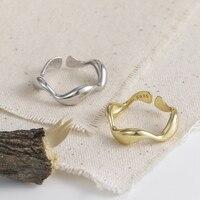 ANENJERY Vintage Irregular suave Cadena de bloqueo Thai anillo de Plata de Ley 925 anillo de tamaño ajustable joyería al por mayor S-R589
