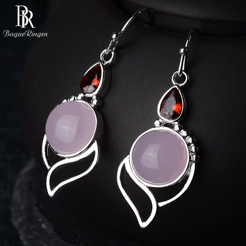 Bague Ringen 100% Real Silver 925 Drop Earrings With Round Rose Quartz Gemstone Ruby Ethnic Jewelry  Woman Party Gift Wholesale