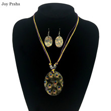Vintage shell earring necklace set / Dramatic embellished earring necklace