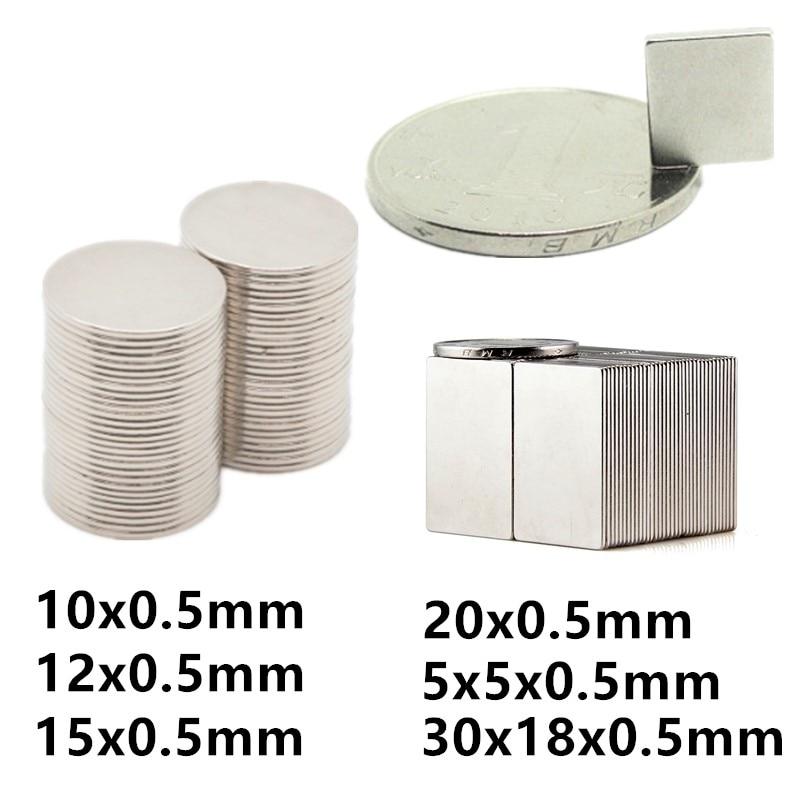 Тонкий Магнит 0,5 мм магнитный лист 10x0,5 12x0,5 15x0,5 20x0,5 30x18x0,5 5x5x0,5mm осевой магниты, 10 мм, 12 мм 20 мм крошечные магниты