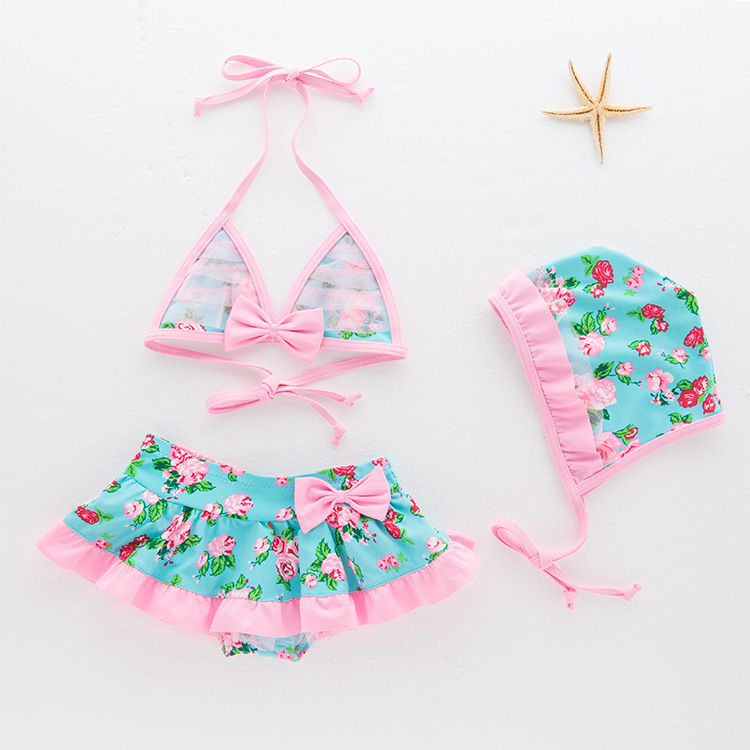 Hipster Child Models Bathing Suit Girls Floral-Print-Swimwear Hot Springs Tour Bathing Suit