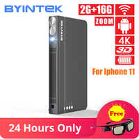 BYINTEK OVNI P12 300 pulgadas 2019 más inteligente 3D Full HD 4K 5G WIFI Android Pico Micro PORTÁTIL Mini LED, proyector DLP para Iphone 11