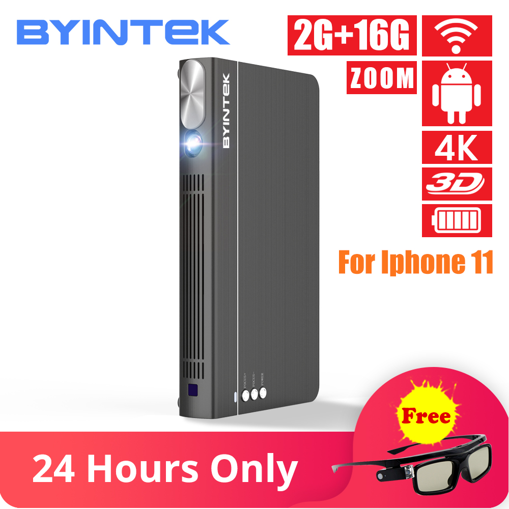BYINTEK UFO P12 300 pouces 2019 plus récent Smart 3D Full HD 4K 5G WIFI Android Pico Portable Micro Mini LED DLP projecteur pour Iphone 11