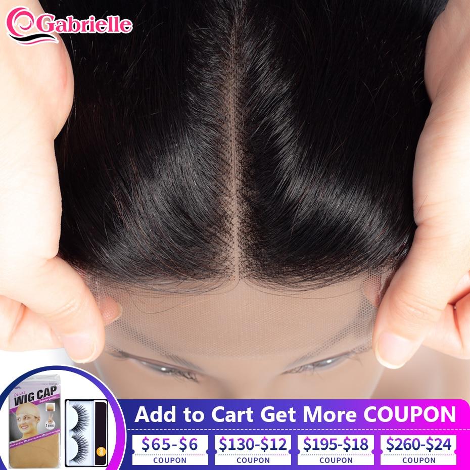Бразильские волосы Gabrielle, прямые кружевные волосы, свободные/Средние/три части, натуральный цвет, 4 x4, швейцарские кружевные волосы Remy, 8-22 дюй...