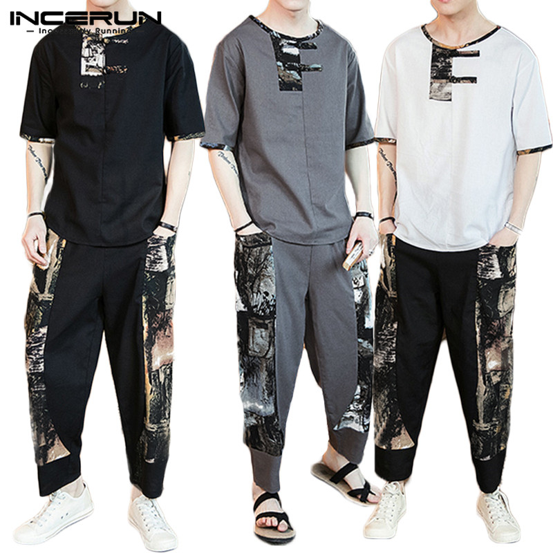 Chinese Style Printed Men Sets Vintage Short Sleeve Casual Shirt Elastic Waist Pockets Ethnic Pants Streetwear Men Sets INCERUN