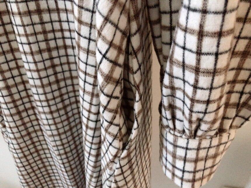 H4b3acb5a0be54d5a888462bf10ab87e3m - Autumn V-Neck Puff Sleeves Slim Plaid Midi Dress