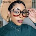 2021 квадратный оптические очки с оправой для женщин и мужчин модные анти голубой светильник с леопардовым принтом, большие очки прозрачные л...