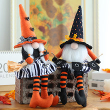 2021 New Halloween Long Legs with Broom Dwarf Doll Creative Faceless Doll Home Decoration Desktop Ornaments