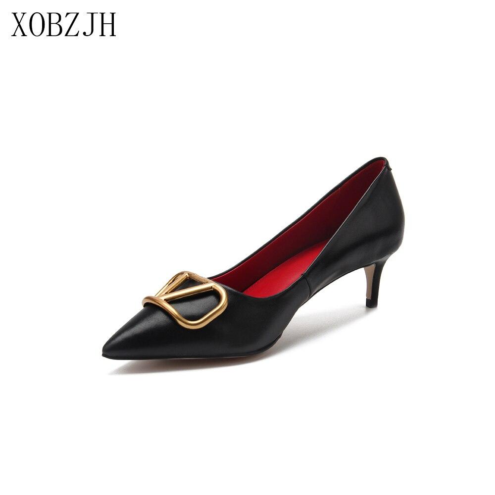 Italian Office Shoes Women Kitten Heels Pumps 2019 Luxury Brand Designer Pumps Black Genuine Leather V Shoes Woman Low Heels