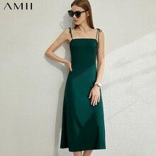 AMII Minimalism Spring Summer Fashion Suspender Women Dress