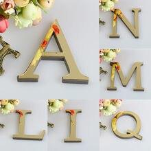 2021 novo 26 letras diy 3d espelho acrílico adesivos de parede decalques arte mural design arte artesanato livre pé coração casamento casa