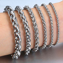 HNSP 316L Stainless steel Link chain bracelet for men male hand Chains jewelry цена 2017