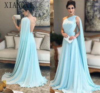 2019 Fashion One Shoulder Prom Dresses with Cape Arabic Bubai Backless Chiffon Formal Dresses Sweep Train Formal Evening Party
