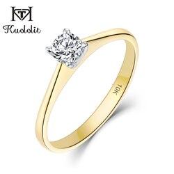 Kuololit 10K żółte i białe złoto 100% naturalne Moissanite D pierścienie z kamieniami szlachetnymi dla kobiet ślub zaręczyny Bride prezenty Fine Jewelry
