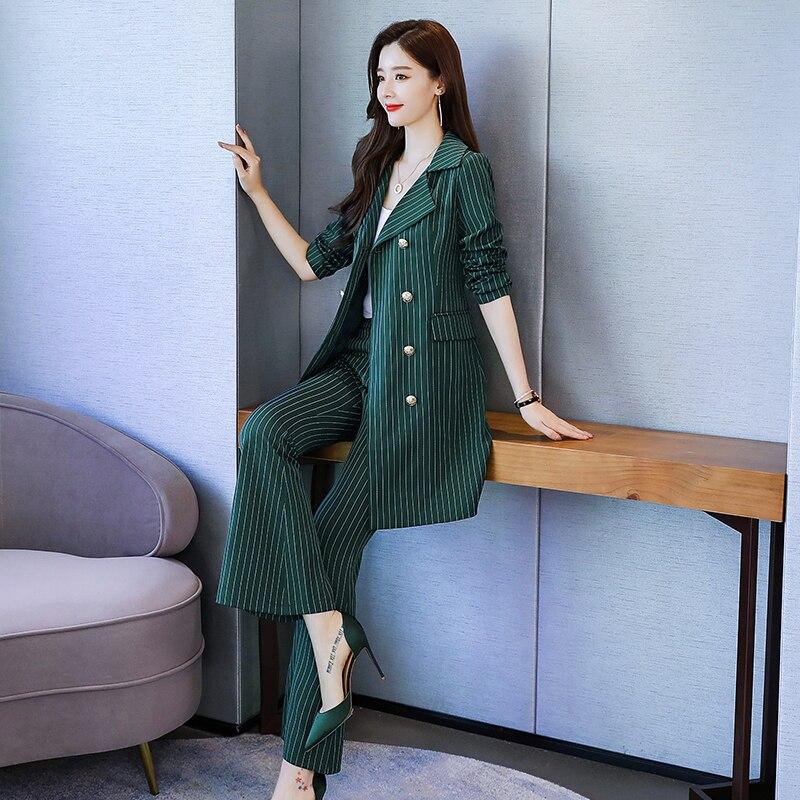 Moda negócios calças ternos uniforme formal duplo breasted jaqueta e calça preto listrado longo blazer define feminino ol 2 peças terno - 6