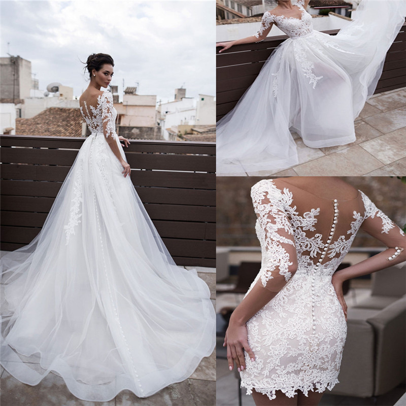 Scoop Neck Sheath Spring Women Wedding Dresses Appliques Lace 2 In 1 Formal Bridal Gowns Slim With Detachable Train Bridal Gowns