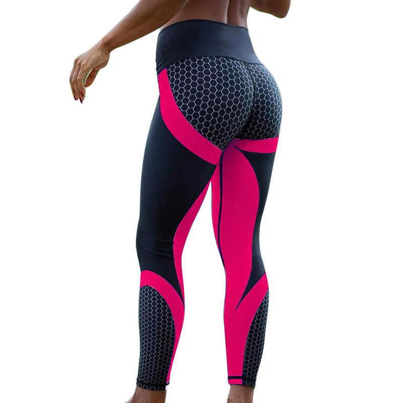 Womens Hip Lift 3D Honeycomb Printing Yoga Capri Leggings Active Workout Elastic Tights-Slim Fitted
