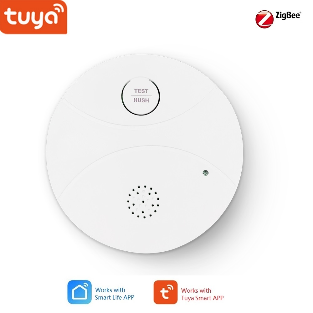 Tuya Smart Home Zigbee Smoke Detector Sensor, Alarm Notice  Push To APP, Support Smart Home Automation With Other Tuya Devices