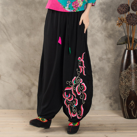 Baoyou National Style Pants Spring And Autumn Art Embroidery Retro Lantern Pants Women Big Code Chinese Wide-legged Trousers