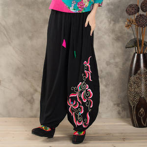 Pants Wide-Legged-Trousers Retro Chinese Women Art-Embroidery Spring And Autumn National-Style