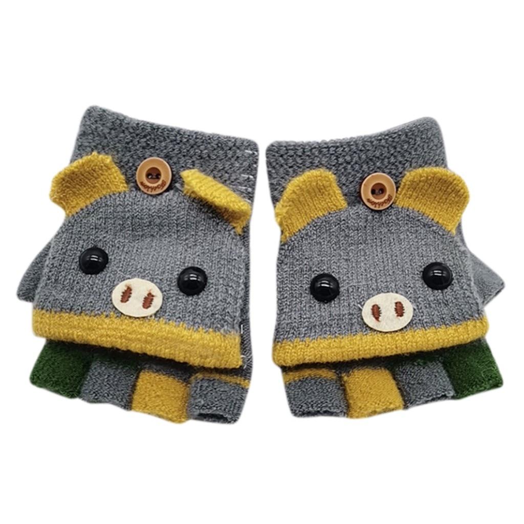 Детские зимние теплые вязаные варежки без пальцев, вязаные перчатки, удобные перчатки для девочек - Цвет: E