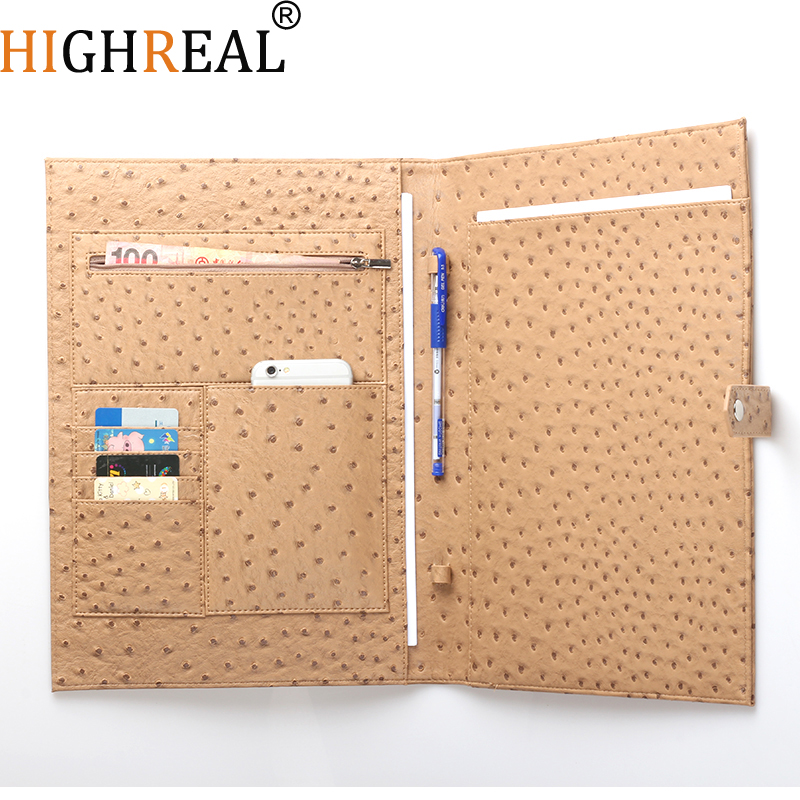 New Document Bag Men Women Ostrich Pattern Padfolio Top quality Business A4 File Holder Luxury Porfolio For Ipad Holder(China)