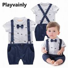 Wholesale Baby boy Summer Romper 2021 New Bow Tie Braces Short Sleeve Cotton Romper Toddler Clothing E12330