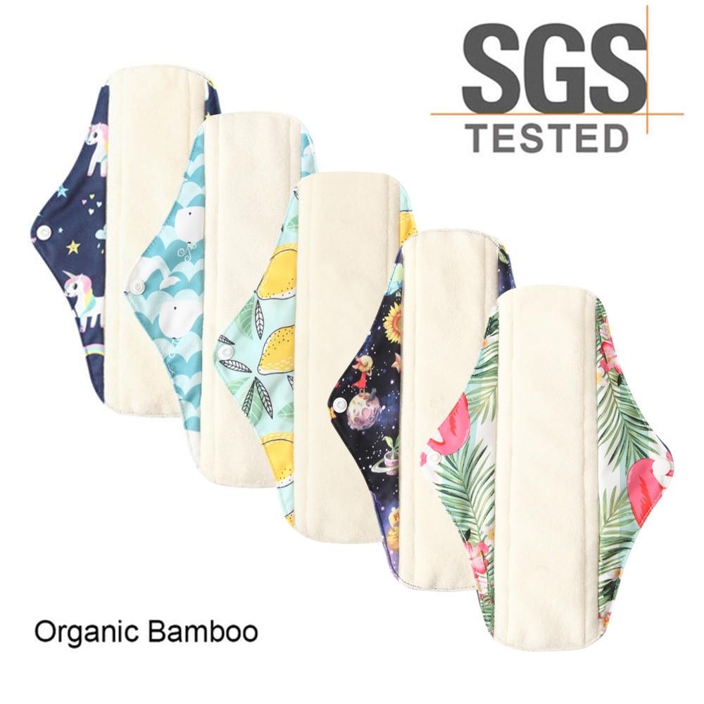 5 шт., водонепроницаемые гигиенические прокладки из бамбука для женщин