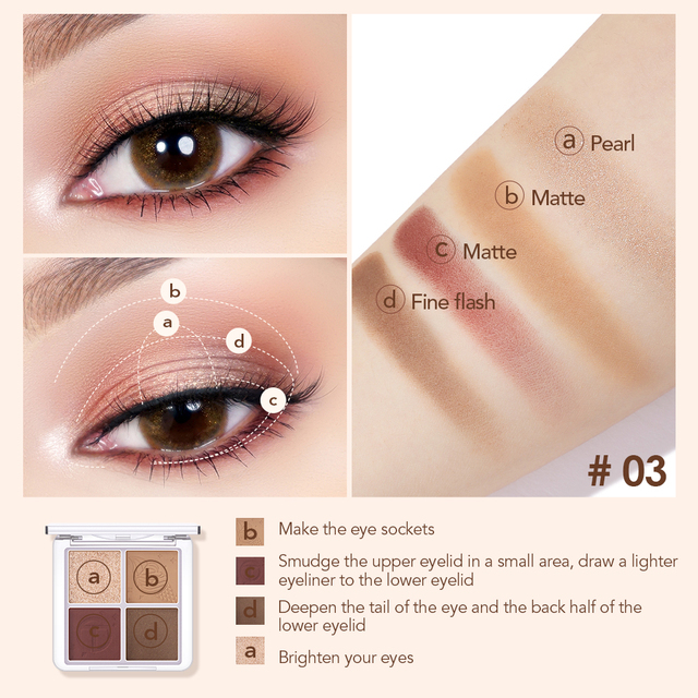 O.TWO.O 4 Color Eyeshadow Palette Peach Waterproof Long Lasting Shimmer  Matte Eye shadow Soft Smooth Shadow Primer Makeup 4